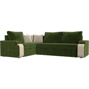 Диван угловой Мебелико Николь микровельвет зеленый/бежевый левый угол
