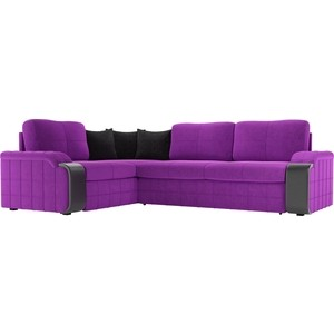 Диван угловой Мебелико Николь микровельвет фиолетовый/черный левый угол