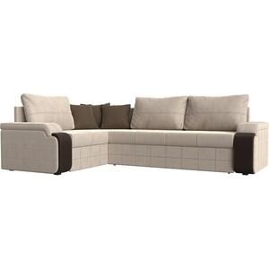 Диван угловой Мебелико Николь рогожка бежевый/коричневый левый угол диван угловой мебелико николь рогожка коричневый бежевый левый угол