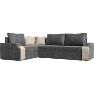 Диван угловой Мебелико Николь рогожка серый/бежевый левый угол диван угловой мебелико николь рогожка коричневый бежевый левый угол