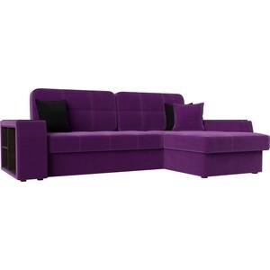 Диван угловой Лига Диванов Брюсель микровельвет фиолетовый правый угол