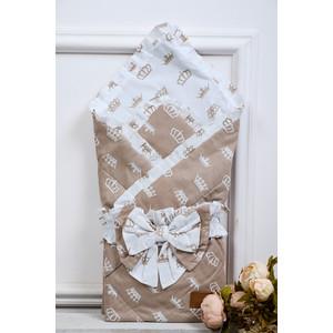 Одеяло на выписку AmaroBaby HAPPY (Короны коричневый, поплин/бязь)