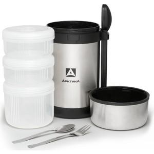 Термос для еды 1.5 л Арктика с 3-мя контейнерами 403-1500 термос для еды с контейнерами tiger lwu a171 charcoal gray 0 61л 0 34л 0 27л палочки для еды в чехле регулируемый наплечный ремень