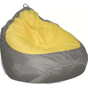 Пуф Комфорт - S Груша-2 оксфорд серый/оксфорд желтый