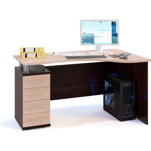 Стол компьютерный СОКОЛ КСТ-104.1 венге/беленый дуб левый стол компьютерный гамма кст 1200 дуб сонома