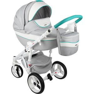 Коляска 2 в 1 Adamex Monte Carbon, серый/белый/мятный D30 GL000575361 коляска adamex avila лен коричневый