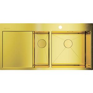 Кухонная мойка Omoikiri Akisame 100-2-LG-R светлое золото (4973090) мойка кухонная omoikiri akisame 41 lg 410 510 светлое золото 4973080