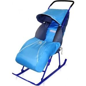 Санки-коляска Ника Тимка 2+ (плоск. полозья поднож, регулир. Ручка, чехол д/ног светоотр. кант) Синий Т2+