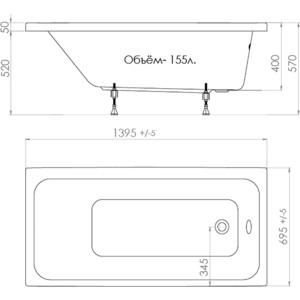 Акриловая ванна Triton Ультра 140x70 с каркасом (Щ0000017118+Щ0000011576)