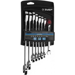 Набор ключей комбинированных Зубр трещоточных 8шт 8-19мм (27074-H8) набор комбинированных трещоточных ключей jonnesway w45107s 10 19мм 7 предметов