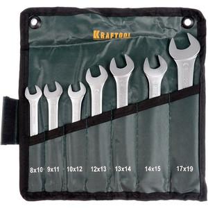 Набор ключей рожковых Kraftool 7шт 8-19 мм (27033-H7) набор рожковых ключей 7шт sata 09073