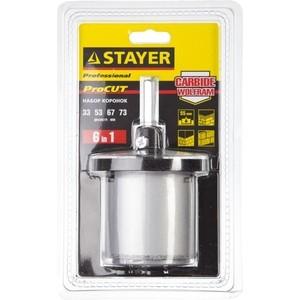 Набор буровых коронок Stayer Professional d 33, 53, 67, 73 мм , 6 предметов (33345-H6) stayer техно 27040 h6