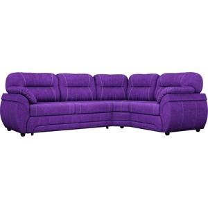 Диван угловой Лига Диванов Бруклин велюровый фиолетовый правый угол