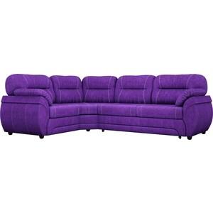 Диван угловой Лига Диванов Бруклин велюровый фиолетовый левый угол