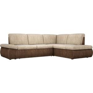 Угловой диван АртМебель Дискавери велюр бежево-коричневый правый угол