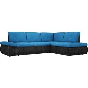 Угловой диван АртМебель Дискавери велюр голубой-черный правый угол