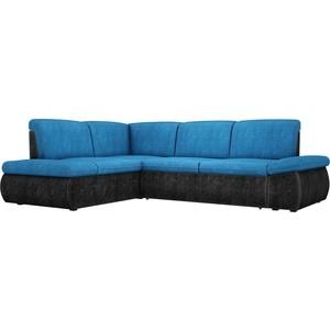 Угловой диван АртМебель Дискавери велюр голубой-черный левый угол