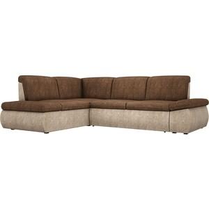 Угловой диван АртМебель Дискавери велюр коричнево-бежевый левый угол