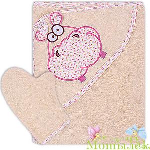 Полотенце-уголок Осьминожка с вышивкой Бегемот махровое 100*110бежевый