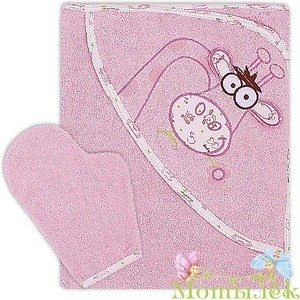 Полотенце-уголок Осьминожка с вышивкой Жираф махровое 100*110 розовый