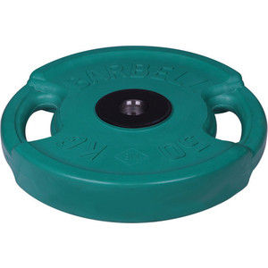 цена на Диск MB Barbell олимпийский с ручками d 51 мм цветной 50,0 кг (зеленый)