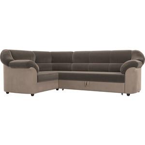 Угловой диван АртМебель Карнелла велюр коричневый/бежевый левый угол