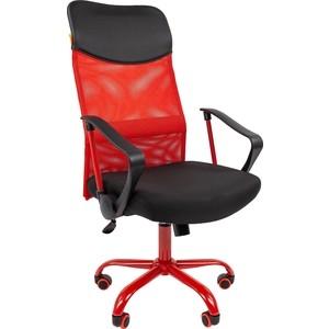 Офисноекресло Chairman 610 15-21 черный + TW красный / CMet офисное кресло chairman 610 черный серый