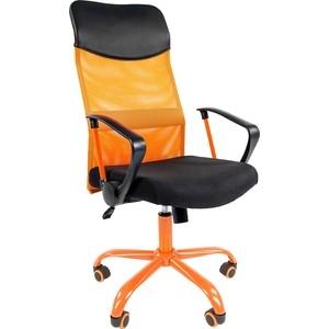 Офисноекресло Chairman 610 15-21 черный + TW оранжевый / CMet офисное кресло chairman 610 черный серый