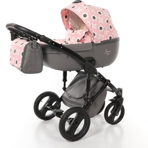 Коляска 2 в 1 Junama MADENA CASATO JMCS-03 серый/цветы розовый/черная рама детская коляска 2 в 1 junama diamond jd 01 темно синий белый короб