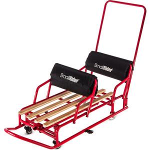 коляски для двойни и погодок Санки-трансформер Small Rider для двойни с колесиками и толкателем Snow Twins 2 (красный)