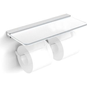 Держатель туалетной бумаги Langberger Accessories двойной, со стеклянной полкой (32042B)