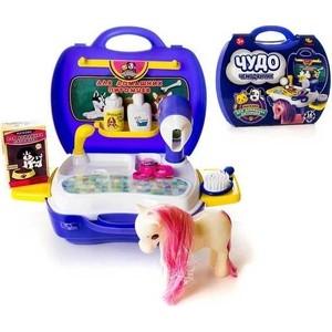 Игровой набор Abtoys уход за домашним питомцем (с лошадкой) Чудо-чемоданчик, 16 предметов (PT-00464)