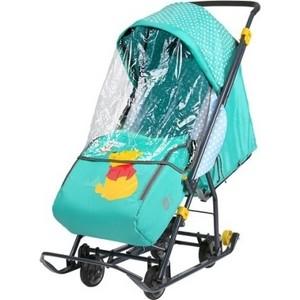 Сани коляска Ника комбинированная Disney Baby 1 (С Винни изумрудный) DB1/2