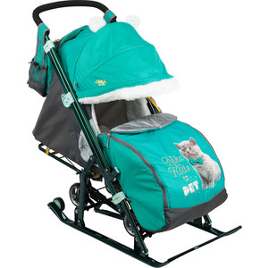 Сани коляска Ника комбинированная детям 7-2 (Kitty Изумруд) НД7-2