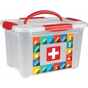 Коробка универсальная Бытпласт с ручкой и декором АПТЕЧКА 5.5л, 283х200х170мм аптечка airline am 04