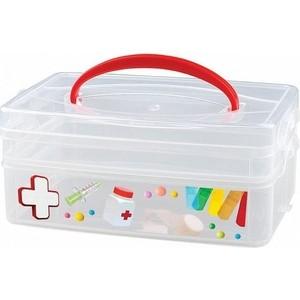 Коробка универсальная Бытпласт с ручкой и декором MULTI BOX 2 секции, 245Х160Х105мм