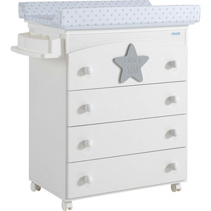 Комод пеленальный Micuna Baby Star B-970 white/grey матрасик stars grey