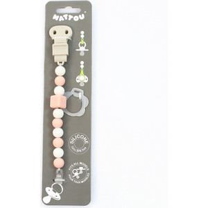 Держатель Nattou для фиксации соски Pacifinder Lapidou light pink-white 879347