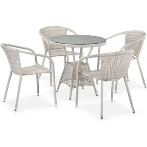 Комплект плетеной мебели из искусственного ротанга Afina garden T705ANT/Y137C-W85 4Pcs latte 4pcs diamond solar powered led colorful garden light
