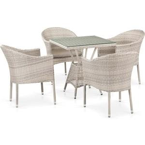 Комплект плетеной мебели из искусственного ротанга Afina garden T706/Y350-W85 4Pcs latte 4pcs diamond solar powered led colorful garden light