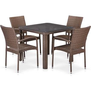 Комплект плетеной мебели из искусственного ротанга Afina garden T341B/Y376-W773-90x90 4Pcs brown комплект плетеной мебели из искусственного ротанга афина мебель rt a92 4pcs