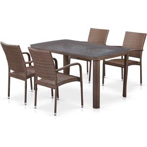 Комплект плетеной мебели из искусственного ротанга Afina garden T51A/Y376-W773-150x85 4Pcs brown