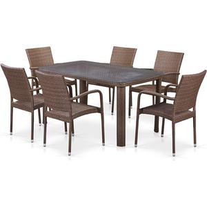 Комплект плетеной мебели из искусственного ротанга Afina garden T51A/Y376-W773-150x85 6Pcs brown