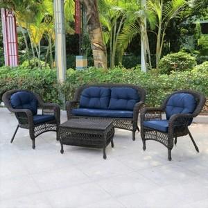 Плетеный комплект для отдыха из искусственного ротанга Afina garden LV520BB brown/blue