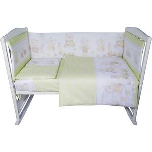 Комплект в кроватку BamBola 6пр мишка бязь зеленый 608