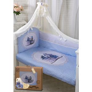 baby nice комплект в кроватку зайка 6 предметов цвет голубой Комплект в кроватку Золотой гусь 7 пр зайка с часиками голубой 1722