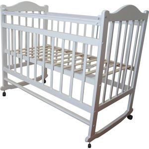 Кроватка МОЙ МАЛЫШ 01 колесо-качалка съемная боковая стенка белый мм1-3