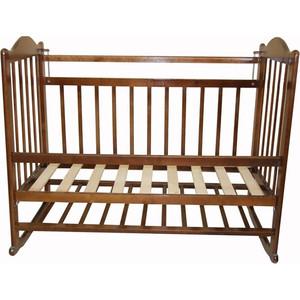 Кроватка МОЙ МАЛЫШ 01 колесо-качалка съемная боковая стенка темный мм1-2 цена