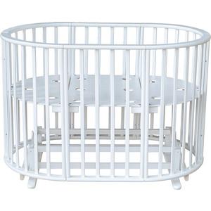 Кроватка МОЙ МАЛЫШ круглая-овальная с маятником мишель белая мм16-3