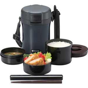 Термос Tiger для еды с контейнерами LWU-A171 Charcoal Gray термос для еды с контейнерами tiger lwu a171 charcoal gray 0 61л 0 34л 0 27л палочки для еды в чехле регулируемый наплечный ремень